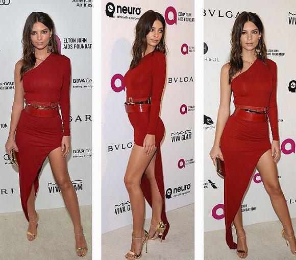 火辣的红:这套不对称剪裁的礼服充分展现艾米丽&